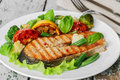Steak grilled salmon Royalty Free Stock Photo