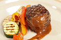 Steak with grilled vegetables Stock Photos