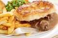 Steak and kidney pie meal Royalty Free Stock Photo