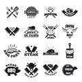Steak logo grilled beef icons set, simple style Royalty Free Stock Photo
