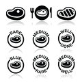 Steak medium rare well done grilled icons set vector of beaf or pork isolated on white Royalty Free Stock Images