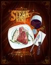 Steak menu poster design, hand drawn graphic illustration of a fillet mignon steak and glass of wine