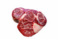 Steak osso buco is on a white background insulated Royalty Free Stock Image