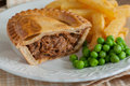 Steak Pie Chips and Peas Royalty Free Stock Photo
