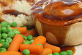 Steak Pie, Mash and Vegetables Stock Photos