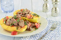 Steak poke papaya made with tomato onion and cilantro served in a Royalty Free Stock Photography