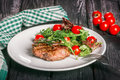 Steak and salad Royalty Free Stock Photo