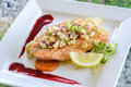 Steak salmon with apple salsa and berry sauce