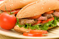 Steak Sandwiches on Plate Royalty Free Stock Photo