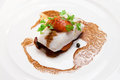 Steak snow fish steack fillet of on white plate closeup Stock Photography