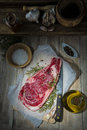 Steak on the table of the kitchen Royalty Free Stock Photo