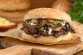 Steak und käse pilz schmelze Lizenzfreie Stockbilder