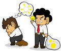 Steal idea businessman cartoon concept Stock Photos