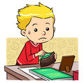 Stealing money a boy in his father wallet vector eps file Stock Photography