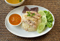 Steam chicken with rice hainan chicken on white plate Royalty Free Stock Photography