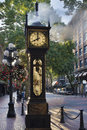 Steam clock at gastown vancouver in the morning bc canada eight am with sunlight Stock Photos