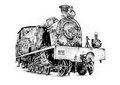 Steam engine art design drawing on artistic paper my own from my photo Royalty Free Stock Images