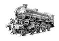 Steam engine art design drawing on artistic paper my own from my photo Stock Images