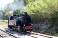 Steam engine old on the way from st jean du gard to anduze gard in full heart of the cevennes in the region of languedoc Royalty Free Stock Images