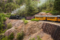 Steam Engine Train in Mountains Stock Photo