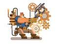 Steam engineer working