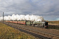 Steam excursion lindum fayre peterborough uk december vintage loco oliver cromwell heads the toward lincoln city through rural Stock Photo