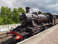 Steam locomotive engine ivatt of the strathspey railway in aviemore station scotland Royalty Free Stock Photos