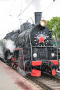 Steam locomotive, front view Royalty Free Stock Photo