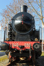 Steam locomotive front view of a historic Royalty Free Stock Photo