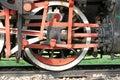 Steam locomotive iron wheel detail Royalty Free Stock Photo