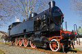 Steam locomotive lateral view of a historic Stock Images
