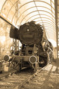 Steam locomotive old sepia toned Royalty Free Stock Images