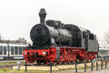 Steam locomotive old time train vintage displayed in the tulcea railway station located in tulcea romania Royalty Free Stock Image