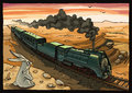 Steam locomotive and rabbit the wild is looking at the moving train with a in a desert the is placed on a separate layer in the Stock Images