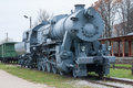 Steam locomotive railroad transportation old front view Stock Photography