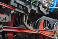 Steam locomotive wheel and connecting rod detail horizontal Stock Images