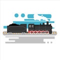 Steam powered locomotive vector illustration. Vintage retro train. Old antique machinery flat design Royalty Free Stock Photo