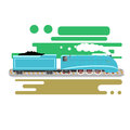 Steam powered locomotive vector illustration. Vintage retro train. Old antique machinery flat design Royalty Free Stock Photo