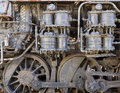 Steam punk steam engine style background detail of old train with rust and damage Stock Images