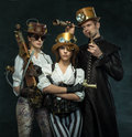 Steam punk style. The people of the Victorian era in an alternate history