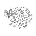Steam punk style raccoon coloring book vector