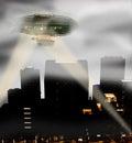 Steam punk zeppelin breaking through fog