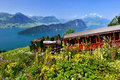 Steam railway in switzerland old on mount rigi with a fantastic view on lake lucerne Stock Image