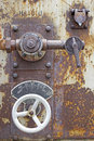 Steam regulation valve old rusted Stock Photos