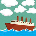 Steam ship illustration graphic art Royalty Free Stock Photo