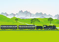 Steam train with carriages illustration of traveling through countryside meadows and trees and mountain backdrop Stock Images