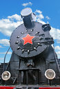 Steam train close up shot of the old soviet locomotive Royalty Free Stock Images