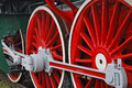 Steam train close up shot of wheels of the old locomotive Royalty Free Stock Photography