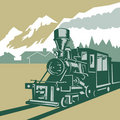 Steam train with mountains Royalty Free Stock Photography