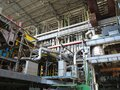Steam turbine, generator, machinery, pipes, tubes, at power plan Royalty Free Stock Photo
